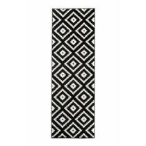 Marokkói mintás futószőnyeg, 80×300 cm fekete
