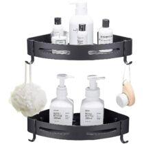 Aokyom fürdőszoba sarokpolc szett, alumínium, fekete