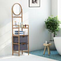 HomCom fürdőszoba polc tükörrel, bambusz, 41 x 33 x 166 cm (834-206)