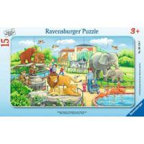 Ravensburger 15 db-os keretes puzzle – Kalandok az állatkertben (06116)