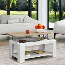 Comifort nyitható tetejű dohányzóasztal, sonoma-fehér