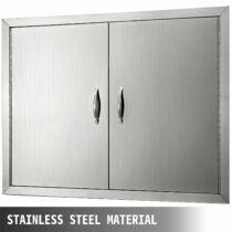 Rozsdamentes acél dupla ajtós elem kültéri konyhához, 61 x 61 cm