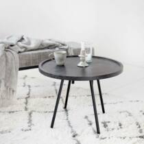 Juco mangófa dohányzóasztal, fekete, Ø60 cm