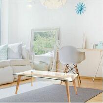 Alexia téglalap alakú dohányzóasztal üveg asztallappal, 110 x 60 x  45 cm