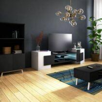 Selsey Charles TV állvány, 160 cm, fehér-fekete, B. kategória, világítás nélkül