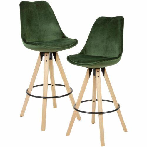 Wohnling design bárszék, zöld bársony, fekete lábak, 2 db-os szett