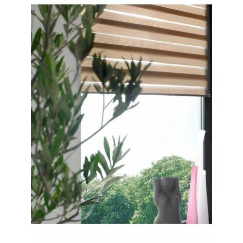 60×150 cm sávos roló, dupla roló, zebra roló, fúrás nélkül, feszíthető, mokka