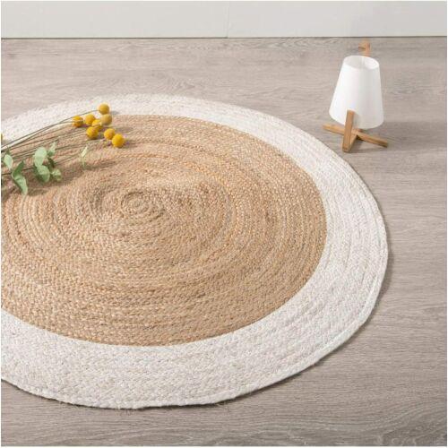 Atmosphera kerek juta szőnyeg fehér szegéllyel, 120 cm