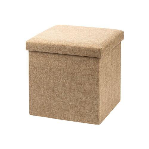 Összehatjható tároló doboz és ülőke, 30x30x30 cm, barna
