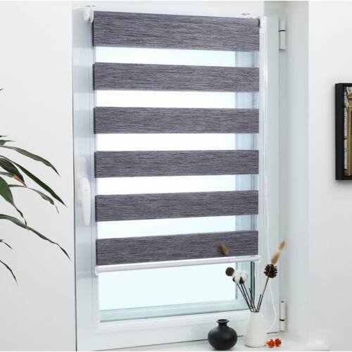 Grandekor 90×150 cm sávos roló, dupla roló, zebra roló, fúrás nélkül, márványszürke szín