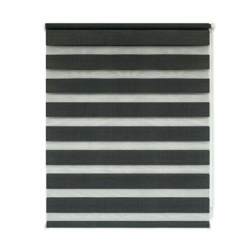 Sávos roló, dupla roló, zebra roló, fúrás nélkül, 60×160 cm, antracit