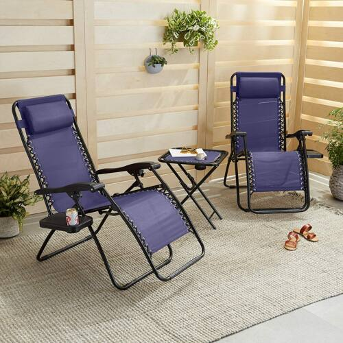 Zéró gravitáció kerti székek pohártartóval, asztallal, kék
