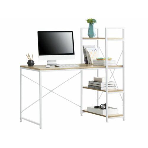 [en.casa]® Íróasztal 4 polccal, fém vázzal 122 x 120 x 64 cm