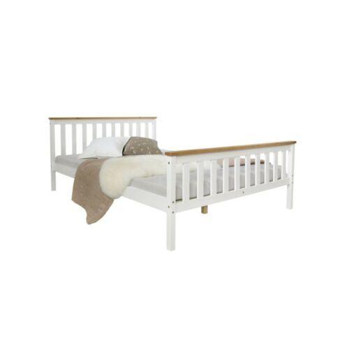 Homestyle4U fenyőfa francia ágy ágyráccsal, 140 x 200 cm