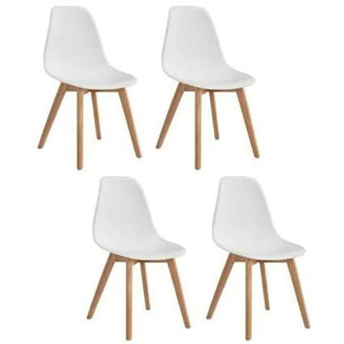 Skandináv szék fa lábakkal, fehér, 4 db