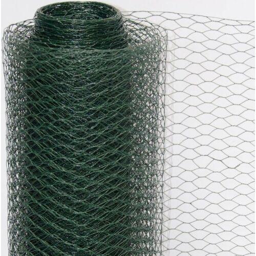 Acél csirkeháló drótkerítés PVC bevonattal, 0,75 m x 25 m, zöld