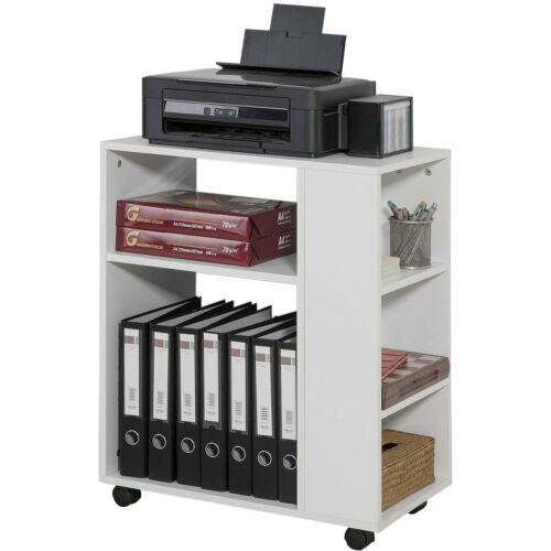 SoBuy® irodai görgős tároló, nyomtató asztal, könyves polc, fehér, 60x75x35 cm, (FBT68-W)