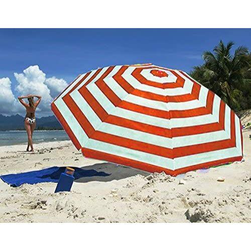 Nalu csíkos napernyő, 140 cm, szürke/piros