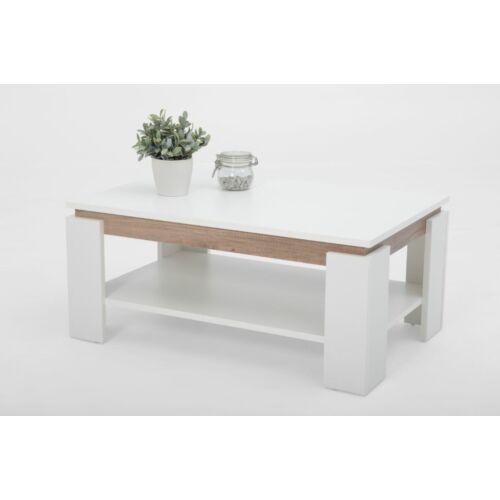Apollo Tim2 dohányzóasztal, 90 x 60 x 41 cm, fehér/tölgy