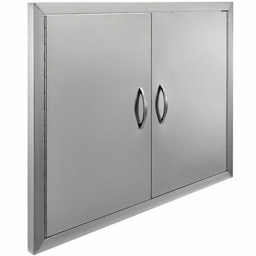 Rozsdamentes acél dupla ajtós elem kültéri konyhához, 79 x 61 cm