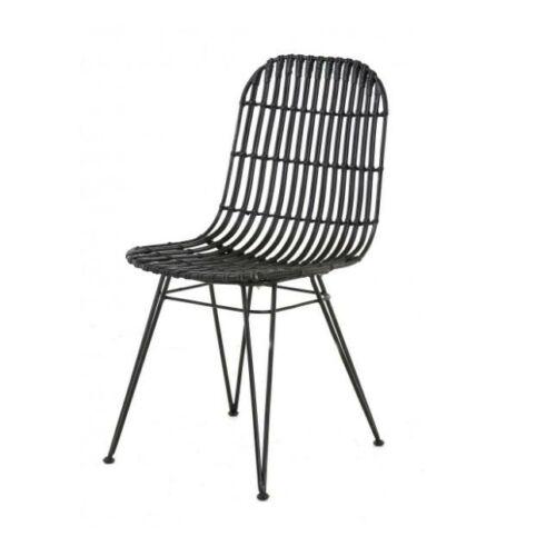 Melody rattan és fém szék szett, 2 db, fekete