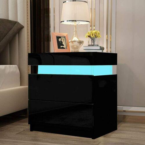 Yoleo éjjeliszekrény LED világítással, 2 fiókkal, fekete