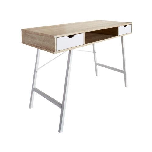Bryrup íróasztal, 120x76x48 cm, 2 fiók, tölgy-fehér
